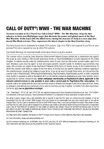 Call of Duty: WWII - DLC 2: The War Machine DLC | PS4 Download Code