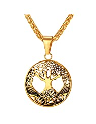Women Men Filigree Style Pendant Gold Plated/ Stainless Steel Tree Of Life Necklace