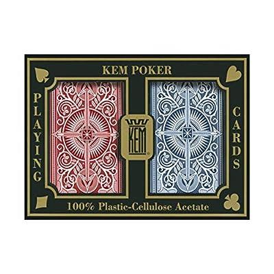 KEM Arrow Red and Blue Bridge Size Jumbo Index Playing Cards: Clothing