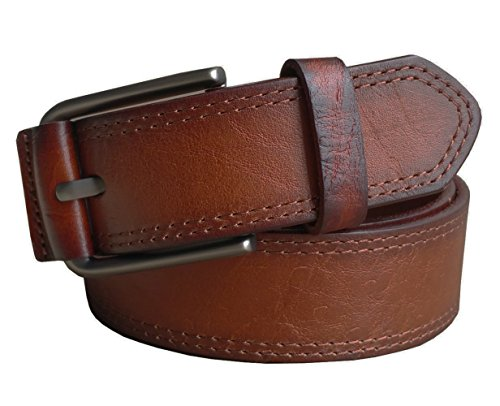 Brown Leather Designer Belt (Capplue Leather Belt for Men with Pin Buckle Full Grain Leather Belt Brown Color)