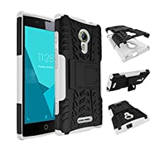 Qiaogle Phone Case - Shock Proof TPU + PC Hybrid Armor Stents Case Cover for Alcatel One Touch Flash 2 (5.0 inch) - HH14 / Black & White