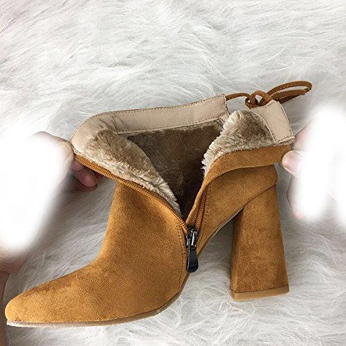 9 camel cm punta lana 38 tacco con spessa levigatura di e colorati Stivali alto Stivali Aw78qAP