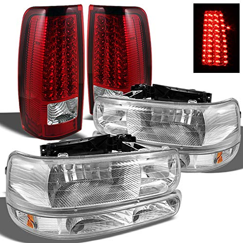 Xtune for 1999-2002 Chevy Silverado Headlights + Bumper + Red Clear LED Performance Tail Lights 2000 2001
