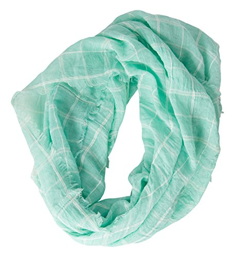 (Tickled Pink Lightweight Beach Plaid Infinity Scarf - 16 x 63