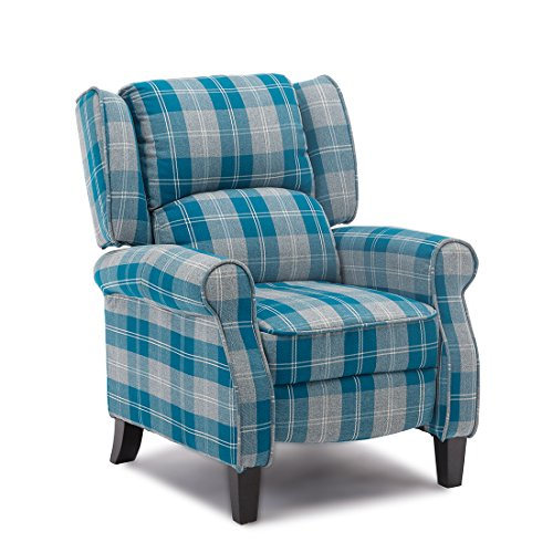 More4Homes EATON WING BACK FIRESIDE CHECK FABRIC RECLINER ARMCHAIR SOFA...