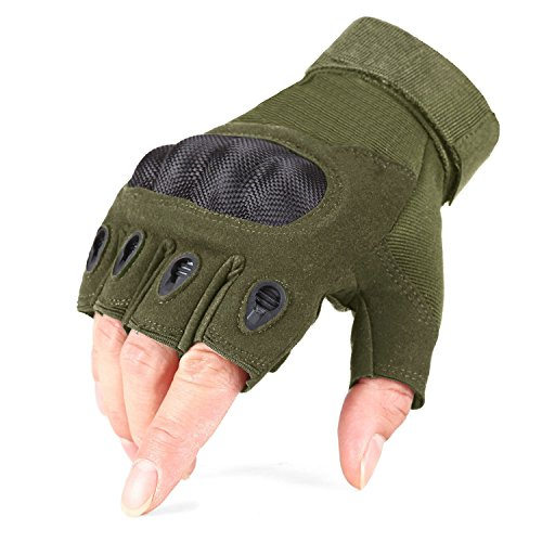 TACVASEN Tactical Military Shooting Riding Hunting Cycling Fingerless Half-Finger Gloves Army Green