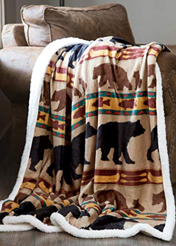 Carstens, Inc Carstens Bear Family Rustic Cabin Sherpa Fleece 54x68 Throw Blanket, Brown