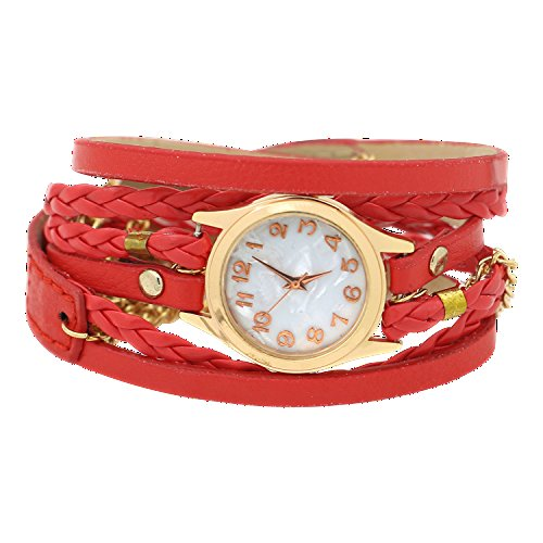 Charming Vintage Weave Wrap Leather Chain Bracelet Watch for Womens Ladies - Red Watch Bracelet Ladies