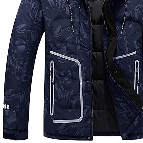À Day Couleur Capuche Solide Plein Foncé En Chaud Mode Vêtements Liquidation Doudoune Grande Air Manteau Outwear Épaissie Hiver Coton Hommes Taille lin Bleu Casual fxnfprqvz4