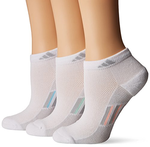 adidas Womens Climacool Superlite Low Cut Socks (3-Pack), White/Clear Grey/Multi, Size 5-10