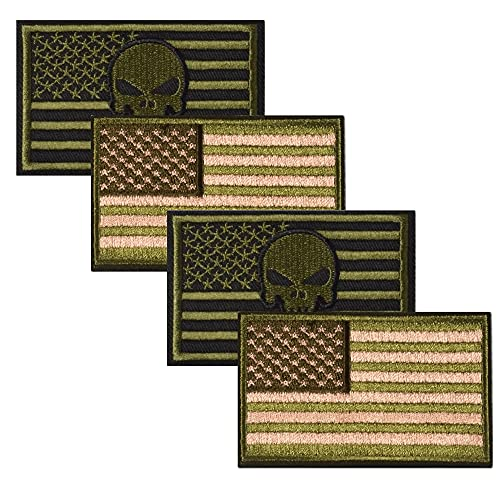 Harsgs USA Flag Patches Bundle, Hook & Loop Tactical Morale Patch Full Embroidery Military Patch for Caps Bags Vests Military Uniforms, Pack of 4, Green