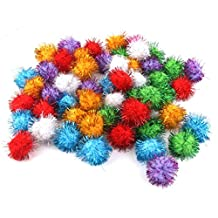 70pcs 3.5cm Glitzy Tinsel Sprayed Pompoms Balls Cat Toys