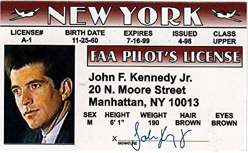 John F Kennedy Jr Drivers License / Fake I.d. Identification for Martha's Vineyard Fans