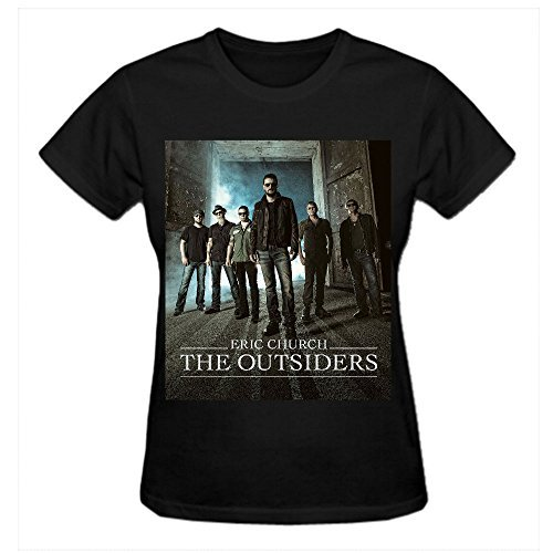 [Timico Design Eric Church The Outsiders Album Women Tshirts Black] (Witch Cutouts)