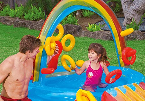 DSFGHE Rainbow Ring Play Centre,Inflatable Float Swim Boat ,Paddling Pool with Moveable Arch Water Spray.Activity Centre for Outdoor Summer Fun! by DSFGHE (Image #5)