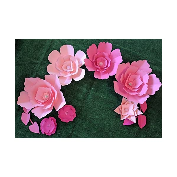 Paper Flowers for Backdrops – Pink Tones – Includes 7 Paper Flowers and 6 Paper Leaves – Fully Assembled