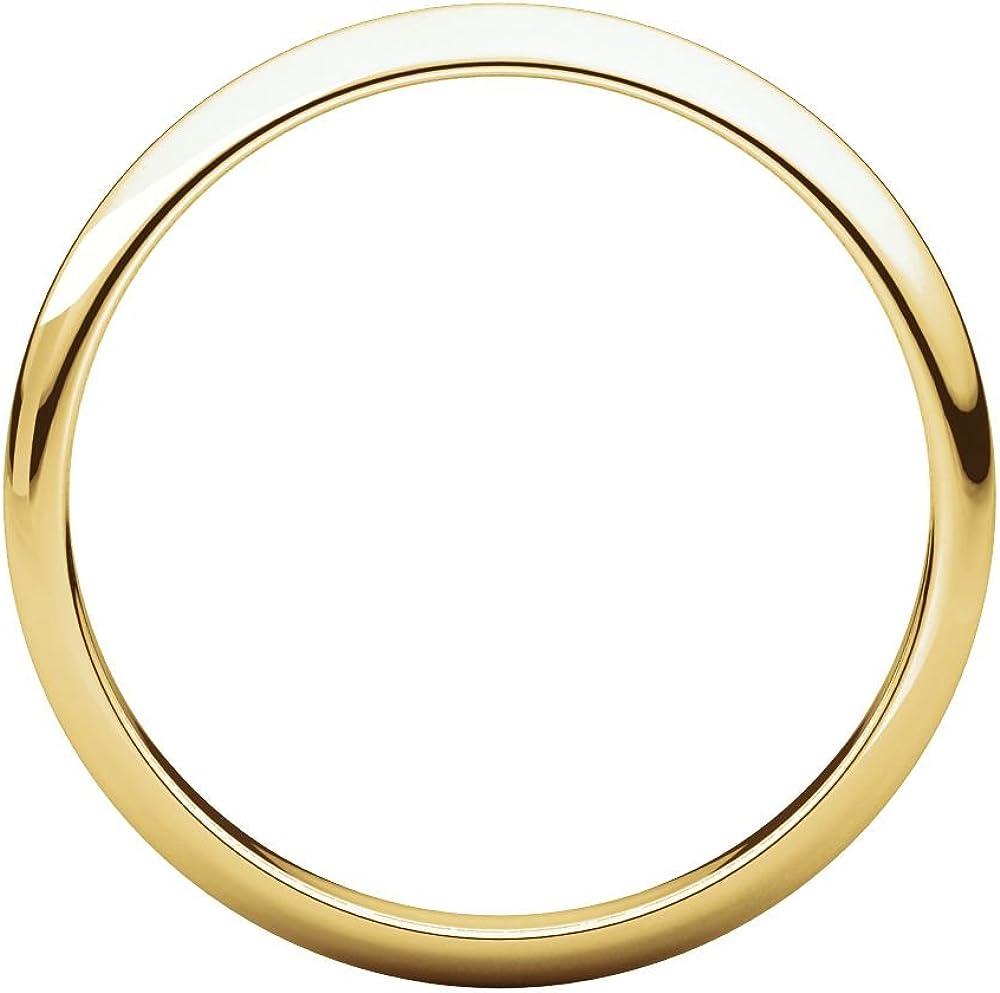 Bonyak Jewelry 14k Yellow Gold 2.5 mm Half Round Band Size 10