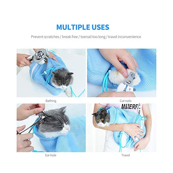 PETCUTE Cat Grooming Bag Cat Washing Bath Bag Mesh Bag for Cat Shower cat Restraint Bag Scratch-Resistant Click on image for further info. 2