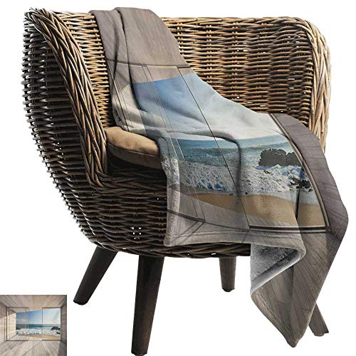 BelleAckerman Velvet Touch Ultra Plush,Modern,Empty Modern Lounge Area with Large Window and View of Sea Waves Rocks Art,Beige Blue White,300GSM,Super Soft and Warm,Durable Throw Blanket 30
