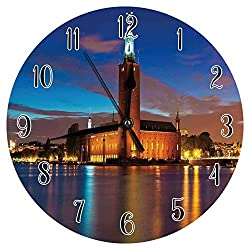 Etonmars European Wall Clock Stockholm Scenic Night at City Hall Old Town Enchanted Town Sweden View Silent Round Wall Clock for Home Office Bedroom 10in