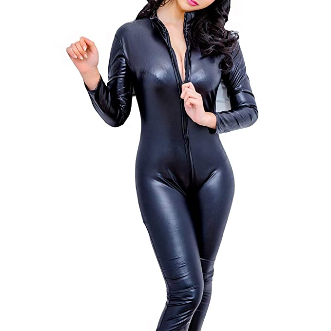 277d2a4c7a124 COSPROFE Women's Pu Faux Leather Catsuit Sexy Cosplay Bodysuit Teddy ...