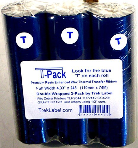 Pack Dot Matrix Printer Labels (Thermal Transfer Ribbon 3 roll pack- 4.33