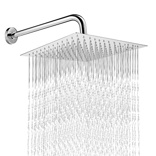 Lusucat 12 Inch Shower Head With 14 Inch Extension Arm 304 Stainless Steel High Pressure Large Square Rain Shower Heads Rainfall ShowerHead With Shower Arm Waterfall Full Body Coverage Easy To Install ()