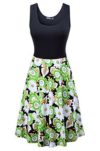 ワンピース レディース ノースリーブ 夏 花柄 フレア ノースリーブ ひざ丈 大きいサイズ カジュアル