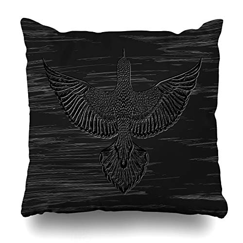 Ahawoso Throw Pillow Cover Pencil Bald Rockpainting Flying Bird On Ancient Painting Eagle Black Detailed Dot Work Design Old Decorative Pillow Case Home Decor Square Size 16x16 Inches Pillowcase