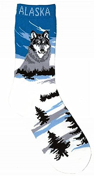 alaska novelty socks wolf landscape mountian ladies 8 11 amazon ca