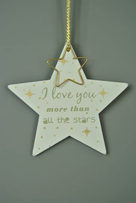 Four Seasons Liverpool Wooden White Grey And Gold Hanging Star Decorations I Love You More Than All Of The Stars With Metal Hanging Star