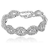 Pulseras de diamantes de imitación plateadas de largo para mujeres