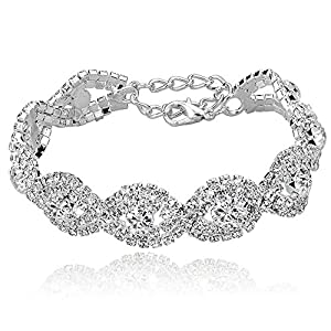 Long Way Women's Silver/Gold Plated Crystal Bracelets 6.7″+2.4″