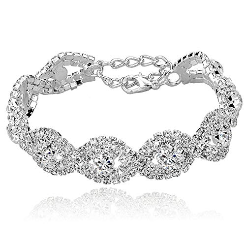 Long Way Women#039s Silver Plated Chain Clear Austrian Crystal White Rhinestone Link Bracelets Wedding Jewelry