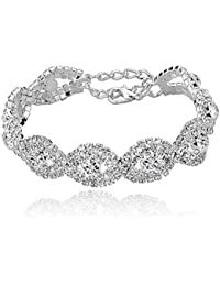 "Women's Silver/Gold Plated Crystal Bracelets 6.7""+2.4"""