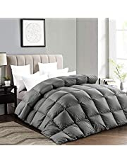 Luxurious Oversized King Size Goose Down Comforter, 85 OZ Fluffy Down Duvet Insert, 600+ Cleanness Goose Down Feather Hypo-allergenic, 100% Cotton Shell Down Proof with 8 Corner Tabs…