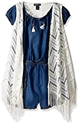 Limited Too Little Girls\' 2 Piece Denim Romper and Cardigan Set, 3012-Vanilla, 6X