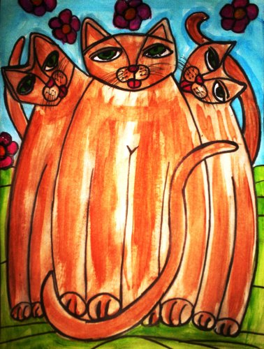 - Comical Abstract Folk Art Cats