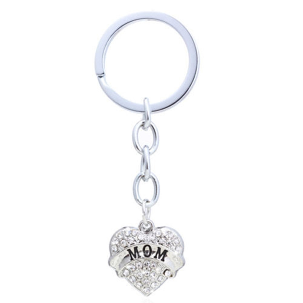 Fashion Rhinestone Family Carving Heart Pendant Keyring Key Chain Bag Hangings - Clear Aunt GlobalDeal Direct