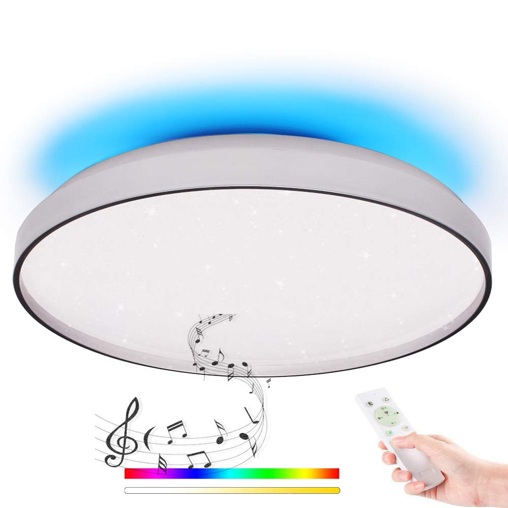 LED Deckenleuchte mit Fernbedienung Dimmbar, Panel Farbwechsel Deckenlampe Mit Dual Lautsprecher, Bluetooth Deckenleuchte 48W Ø50cm Weiß/Kaltweiß für Wohnzimmer, Schlafzimmer, Küche und Esszimmer