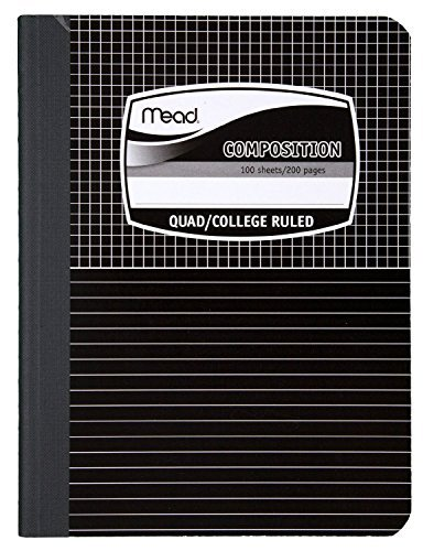 6 PACK of Mead Graph Composition Book, Square Deal, Black Marble, 7.5 x 9.75 Inches (09000)