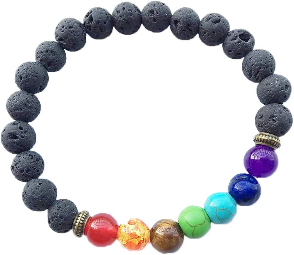 Leisial 1 Pieza Pulsera de Cuentas Piedra Preciosa Curativa Los Chakras Roca Lava Perlas Colores para Hombres Mujer
