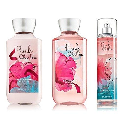 (Bath & Body Works Pink Chiffon Set - Shower Gel 10oz, Fragrance Mist 8oz & Body Lotion 8oz)