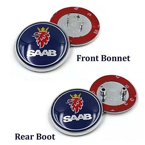 2pcs Hot sale 68mm Blue SAAB logo car front hood bonnet emblem rear badge sticker for 03-10 Saab 9-3 9-5 93 95