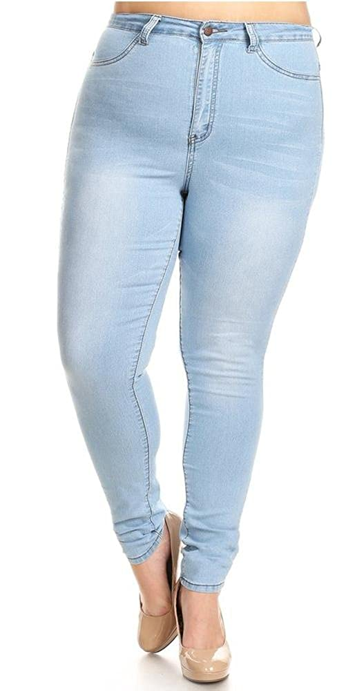 0294201ea29e0 Monotiques Women s Plus Size High Rise Rinse Washed Skinny Jeans - Black -   Amazon.co.uk  Clothing
