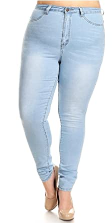 7f9be83d5b1f2 Monotiques Women s Plus Size High Rise Rinse Washed Skinny Jeans - Black -