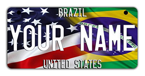 (BleuReign(TM Personalized Custom Name Mixed USA and Brazil Flag Motorcycle Moped Golf Cart License Plate Auto Tag)