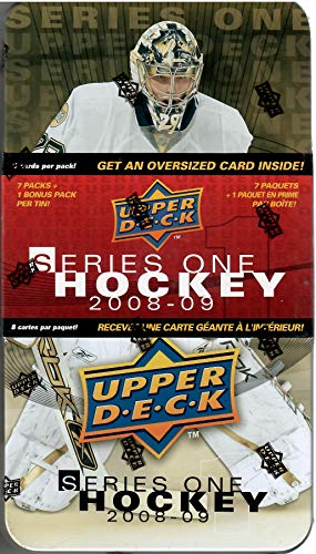 2008-09 Upper Deck Series 1 Hockey Tin 8 Packs and 1 Oversize Card Per Tin