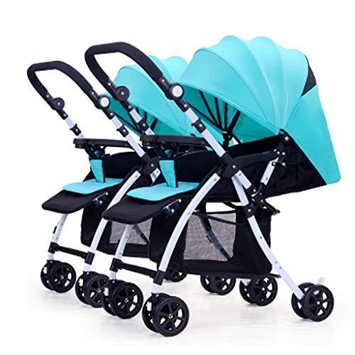 ZDMSEJ Double Stroller, Twin Tandem Baby Stroller with Adjustable Backrest, Footrest, Foldable Design for Easy Transportation