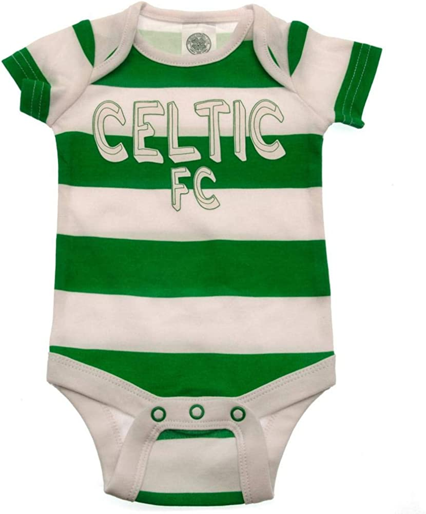 Official Celtic Fc Baby Pyjamas Home Football Kit Sleepsuits Babgrow 2 Pack Bodysuits Vests